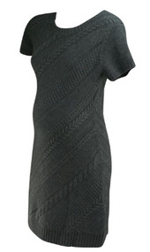 *New* Dark Gray A Pea in the Pod Maternity Diagonal Knit Short Sleeve Maternity Dress (Size Medium)