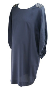 *New* Deep Agean Blue by A Pea in the Pod Collection Maternity Embellished Shoulder Ruched Silk Sleeve Maternity Dress (Size Large)