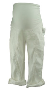 *New* White A Pea in the Pod Maternity Cropped Linen Mix Maternity Cargo Pants (Size X-Small)