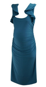 *New* Steel Blue A Pea in the Pod Collection Maternity Ruched Special Occasion Maternity Dress (Size Large)