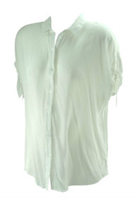 *New* White Tie Short Sleeve A Pea in the Pod Maternity Button Down Maternity Shirt (Size Small)