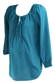 Teal Daniel Rainn Maternity for A Pea in the Pod Collection Maternity Long Sleeve Stitched Detailing Cinched Long Sleeve Blouse (Gently Used - Size Small)