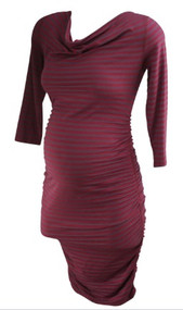*New* Burgundy Striped A Pea in the Pod Maternity Long Sleeve Ruched Maternity Dress (Size Small)