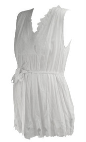 White Floral A Pea in the Pod Collection Maternity by Love Stitch Maternity Sleeveless Belted Cross Body Blouse with Floral and Mesh Hem (Like New - Size Medium)