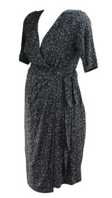 *New* Black A Pea in the Pod Maternity 3/4 Sleeve Splotched Faux Wrap Maternity Dress (Size Large)