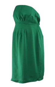 *New* Emerald Green A Pea In The Pod Maternity Satin Strap or Strapless  Pleated Maternity Dress