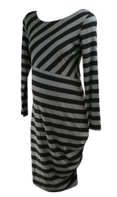 *New* Striped A Pea in the Pod Maternity Long Sleeve Scoop Neck Casual Maternity Dress (Size Large)