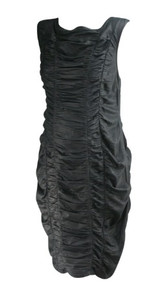 *New* Charcoal Catherine Malandrino Ruched Faux Leather Maternity Dress for A Pea in the Pod Collection Maternity (Size Large)