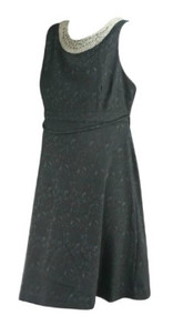 *New* Black Lace A Pea in the Pod Maternity Belted Sleeveless Embellished Neckline Special Occasion Maternity Dress (Size Large)