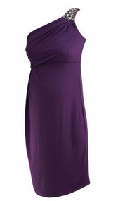 *New* Plum A Pea in the Pod Maternity One Shoulder Embellished Strap Special Occasion Maternity Dress (Size Small)