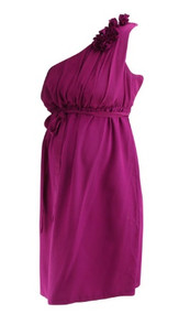 *New* 100% Silk Fuschia A Pea in the Pod Maternity Belted One Shoulder Rose Special Occasion Maternity Dress (Size Medium)
