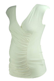 *New* Cream A Pea in the Pod Maternity Ruched Casual Maternity T-Shirt (Size Small)