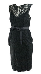 *New* Black Lace A Pea in the Pod Maternity Sleeveless Belted Special Occasion Maternity Dress (Size Large)