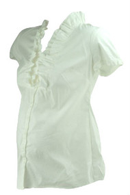 *New* White A Pea in the Pod Maternity Ruffle V-Neck Career Maternity Blouse (Size Small)