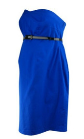 *New* Electric Blue A Pea in the Pod Maternity Belted Strapless Cocktail Maternity Dress (Size Medium)