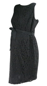 *New* Black Lace A Pea in the Pod Maternity Belted Special Occasion Maternity Dress with Exposed Zipper (Size Medium)