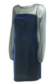 *New* Black Sheer Donna Morgan for A Pea in the Pod Collection Maternity Felt Special Occasion Maternity Dress with Exposed Zipper (Size Medium)