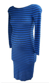 *New* Blue Striped BCBG Maxazria Casual Long Sleeve Maternity Dress (Size Small)