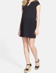 Navy Maternal America Maternity  Deep V-Neck Shift Dress (Gently Used - Size X-Small)