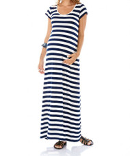 Striped Imanimo Maternity Effortless And Flowy Maxi Summer Dress With Short Sleeves (Like New - Size X-Small)