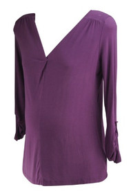 Plum A Pea in the Pod Maternity V-Neck Long Sleeve Maternity Blouse (Gently Used - Size X-Small)
