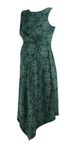 Blue Floral Motherhood Maternity Ruched Sleeveless Boot Neck Faux Wrap Maternity Dress (Gently Used - Size Small)