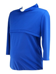 Electric Blue Nursing Turtleneck Maternity Top (Like New - Size X-Large)