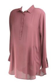 Maroon Ann Taylor Loft Maternity Long Sleeve Half Button Down Tunic Maternity Blouse (Like New - Size Large)