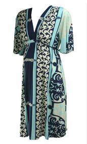 Blue Paisley Print Olian Maternity V-Neck Belted Maternity Dress (Like New - Size Medium)