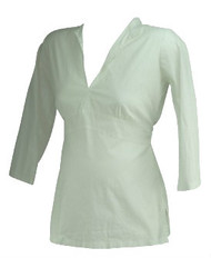 White James Conello Maternity Deep V-Neck Belted Career Maternity Top (Like New - Size Medium)