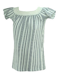 White Striped Zara Maternity Off the Shoulder Short Sleeve Casual Summer Maternity Top (Like New - Size Small)