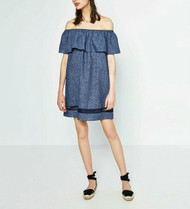 Dark Wash Zara Ruched Off The Shoulder Maternity Wearable Shift Dress (Like New - Size X-Small)
