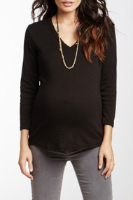 Black Michael Stars Maternity 3-Button Henley Maternity 3/4 Sleeve Top (Like New -  Size Small)