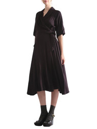 *New* Black Madeleine Maternity Goldie Drape Maternity Dress (New - Size Large)