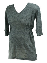 *New* Dark Marled Gray A Pea in the Pod Maternity 3/4 Sleeve Casual Hooded Maternity Tunic Sweater (Size Small)