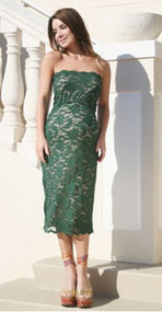 *New* Forest Green Lace Nicole Michelle Maternity Strapless Dress (Size 2X- Fits Like Large/ X-Large)