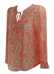 Coral Paisley Oxford Sunday Sheer V-Neck Keyhole Maternity Wearable Blouse (Like New - Size Small)