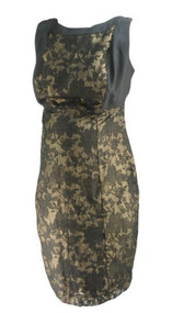 Black Gold Leaf Design A Pea in the Pod Maternity Special Occasion Maternity Dress (Like New - Size Medium)