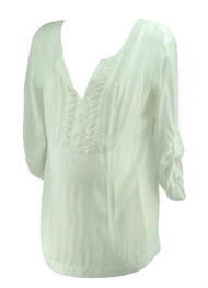 White A Pea in the Pod Collection Maternity V-Neck Stitched Ribbon Maternity Top (Like New - Size Large)