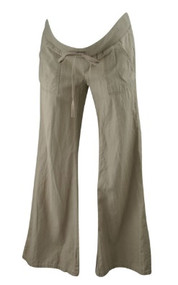 Linen Mix Light Taupe A Pea in the Pod Maternity Boot Cut Casual Drawstring Maternity Pants (Like New - Size X-Small)