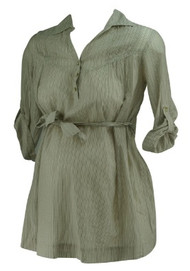 *New* Beige and Green A Pea in the Pod Maternity V-Neck Half Button Down Career Maternity Blouse (Size Small)