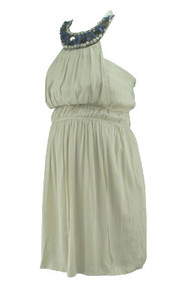 *New* Light Taupe Alira for A Pea in the Pod Collection Maternity Mix Beaded Halter Tie Special Occasion Maternity Dress (Size Medium)