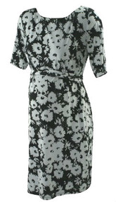*New* Black and White Floral 3/4 Sleeve Career Belted Maternity Dress A Pea in the Pod Maternity (Size Large)