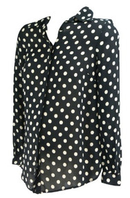 Black Asos Maternity Cream Polk-A-Dot  Button Down Versatile Maternity Blouse (Like New - Size 4)