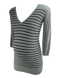 Gray and Black Stripe Rosie Pope Maternity V-Neck Casual Maternity Sweater (Gently Used - Size X-Small)