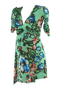 Mint Green Floral Veronicam Maternity Wearable Summer Wrap Dress(Like New - Size Medium)