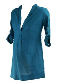 *New* Turquoise A Pea in the Pod Maternity Collection Maternity Adjustable Sleeves Tunic With Missing Belt (Size Small)
