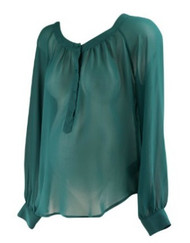 *New* Forest Green PJK Patterson J. Kincaid Long Sleeve Chiffon Maternity Tunic (Size Small)