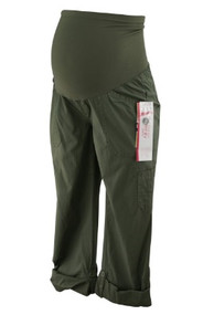 *New* Oliver Green Motherhood Maternity Full Panel Secret Fit Belly Maternity Cargo Capris (Size Small)