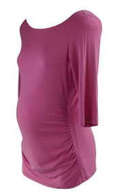 *New* Bubble Gum Pink A Pea in the Pod Maternity Long Sleeve Ruched Scoop Neck Maternity Top (Size Large)